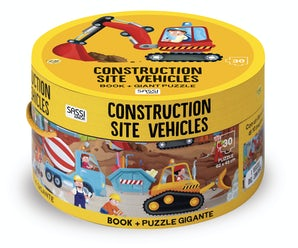 Construction Site Vehicles: Book and Giant Puzzle